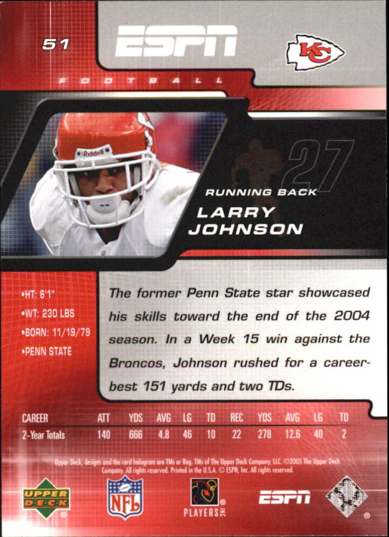 2005 Upper Deck ESPN #51 Larry Johnson back image