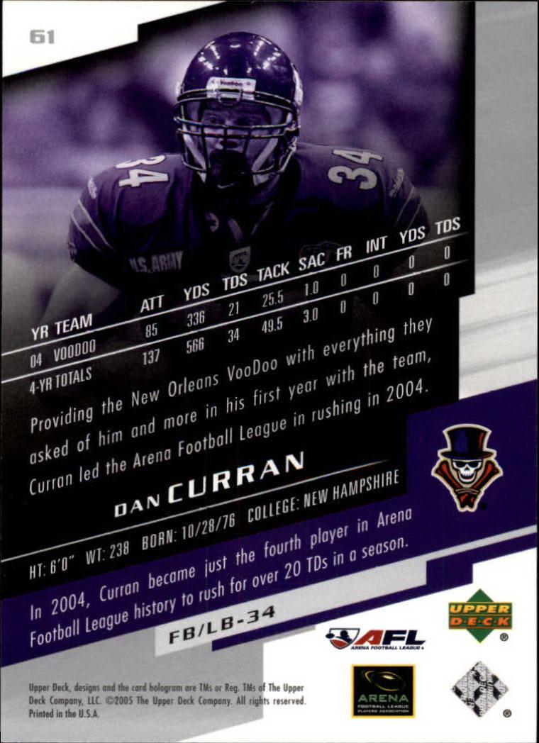 Dan Curran 2005 Upper Deck Arena AFL # 61 Mint Football Card