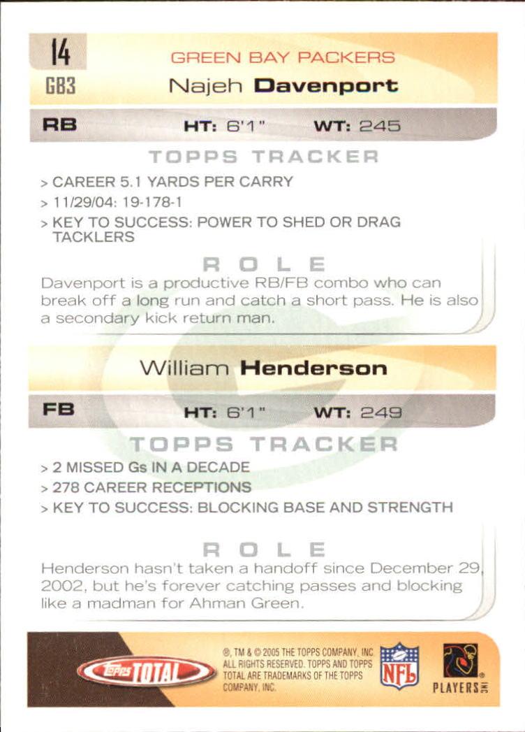 2005 Topps Total #14 William Henderson/Najeh Davenport back image