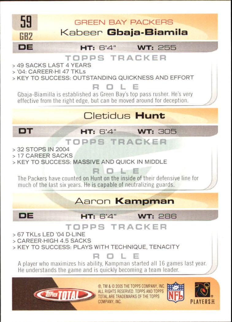 2005 Topps Total #59 Cletidus Hunt/Kabeer Gbaja-Biamila/Aaron Kampman RC back image