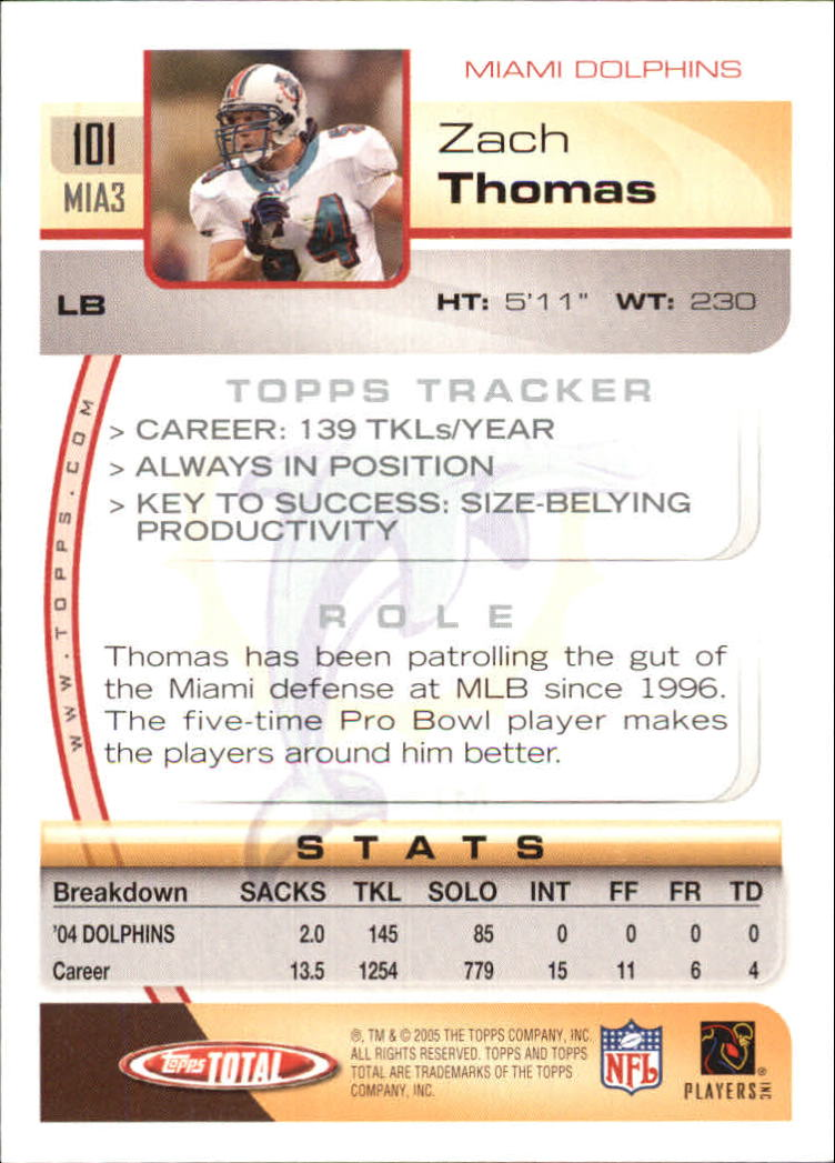 2005 Topps Total #101 Zach Thomas back image