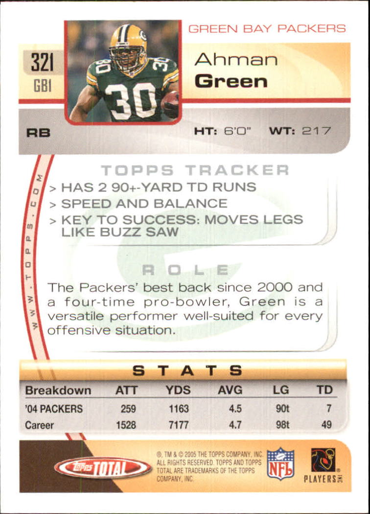 2005 Topps Total #321 Ahman Green back image