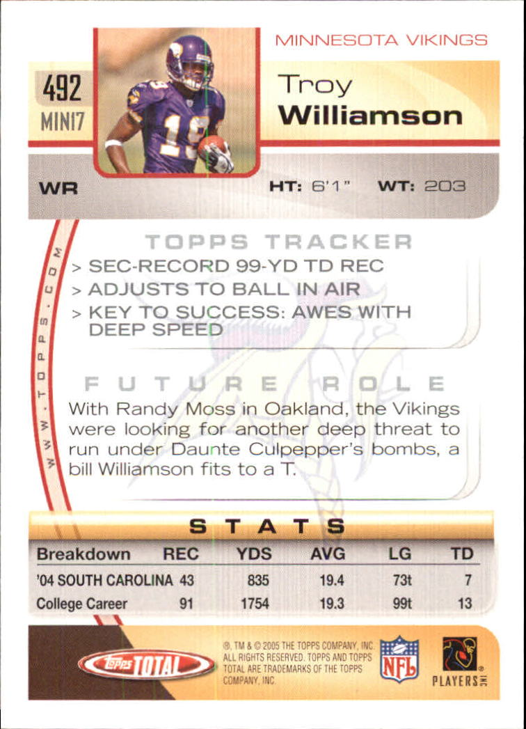 2005 Topps Total #492 Troy Williamson RC back image