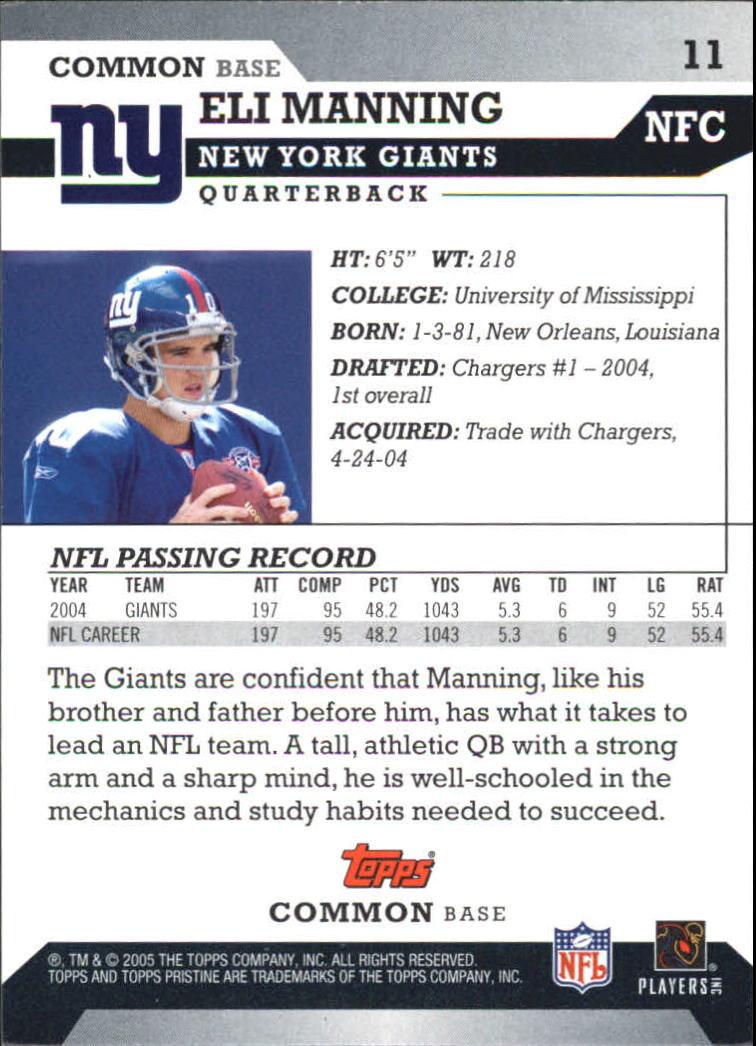 2005 Topps Pristine #11 Eli Manning C back image