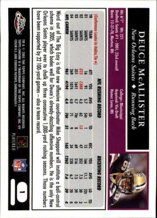 2005 Topps Chrome #1 Deuce McAllister back image