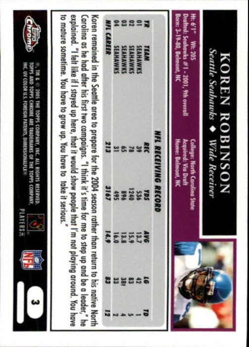 2005 Topps Chrome #3 Koren Robinson back image