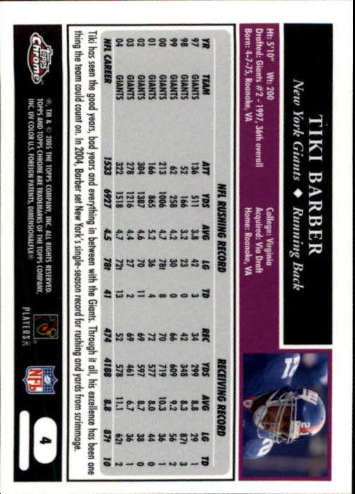 2005 Topps Chrome #4 Tiki Barber back image