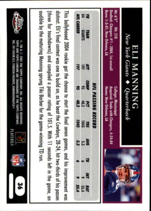 2005 Topps Chrome #36 Eli Manning back image