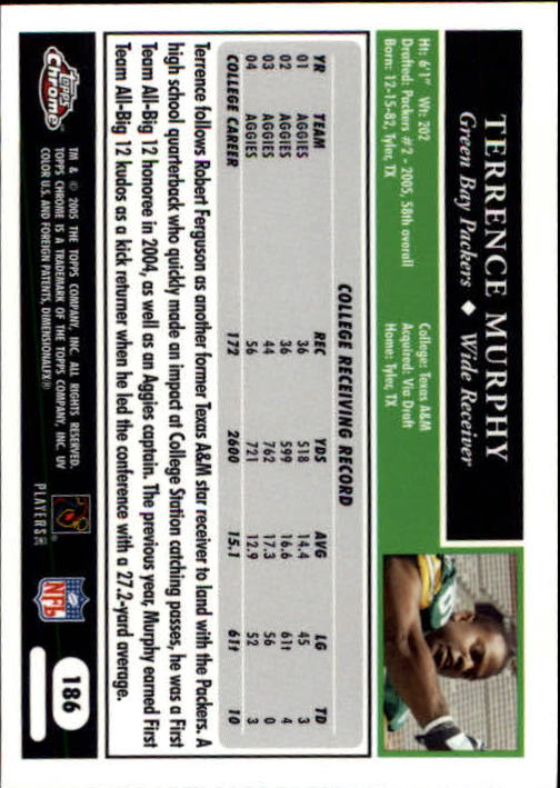 2005 Topps Chrome #186 Terrence Murphy RC back image