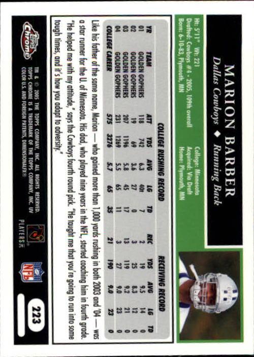 2005 Topps Chrome #223 Marion Barber RC back image