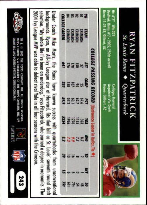 2005 Topps Chrome #243 Ryan Fitzpatrick RC back image