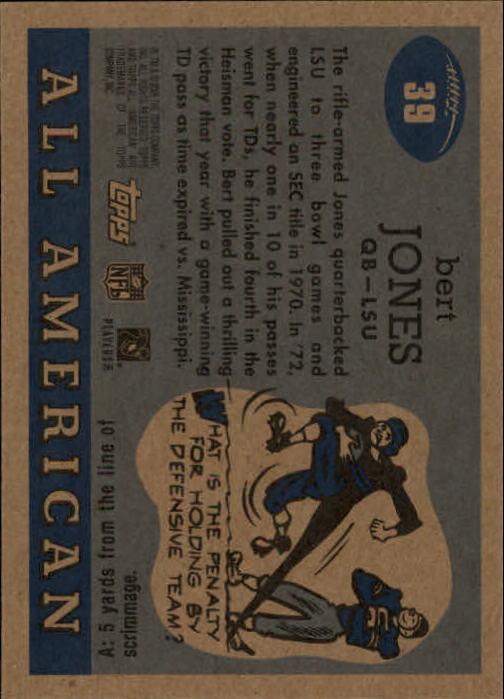 2005 Topps All American #39 Bert Jones back image