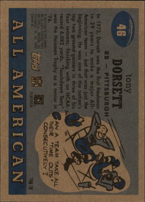 2005 Topps All American #46 Tony Dorsett back image