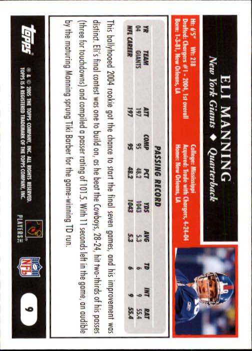 2005 Topps #9 Eli Manning back image