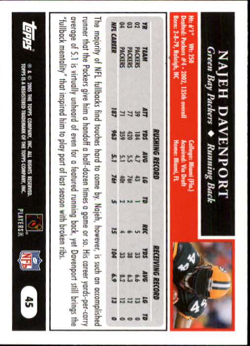 2005 Topps #45 Najeh Davenport back image