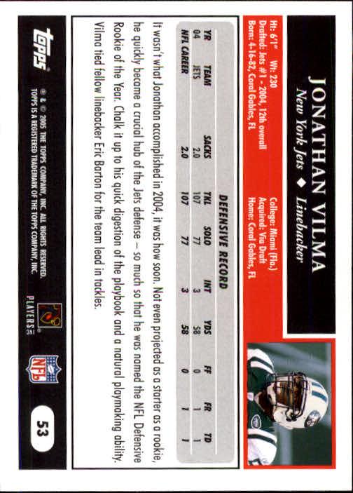 2005 Topps #53 Jonathan Vilma back image