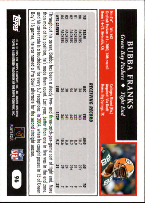 2005 Topps #96 Bubba Franks back image