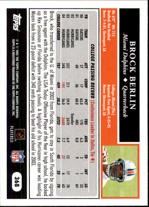 2005 Topps #368 Brock Berlin RC back image