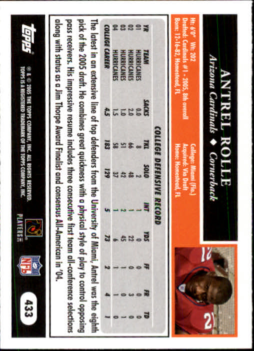 2005 Topps #433 Antrel Rolle RC back image