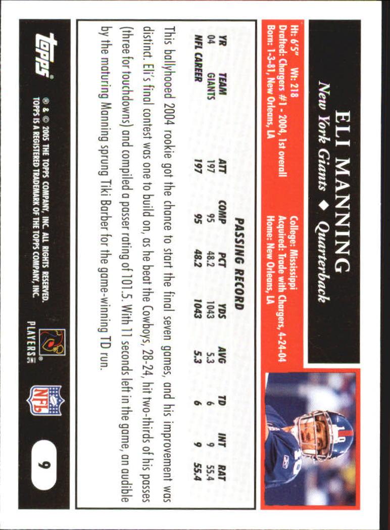 2005 Topps Black #9 Eli Manning back image