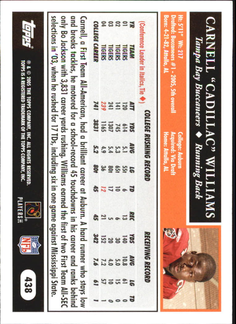 2005 Topps Black #438 Cadillac Williams back image
