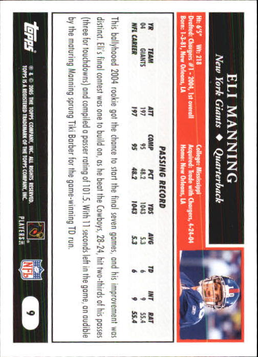 2005 Topps First Edition #9 Eli Manning back image