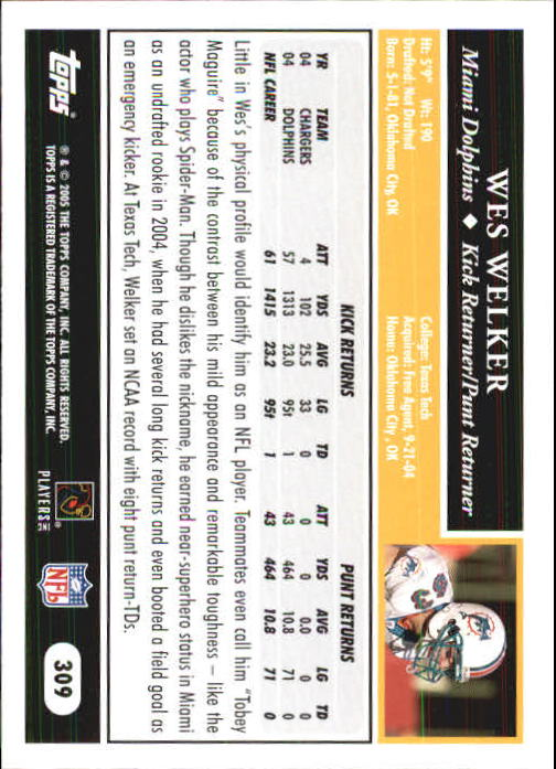 2005 Topps First Edition #309 Wes Welker back image