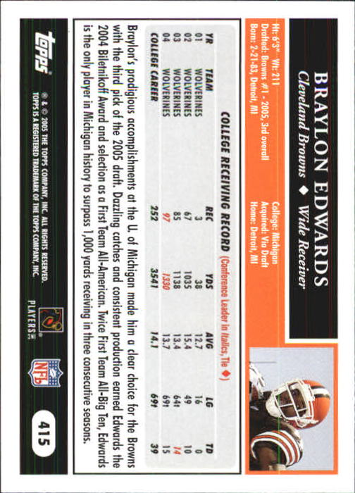 2005 Topps First Edition #415 Braylon Edwards back image