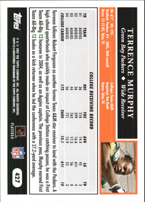 2005 Topps First Edition #427 Terrence Murphy back image