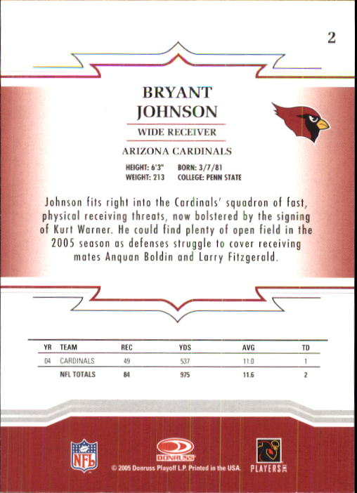 2005 Throwback Threads #2 Bryant Johnson back image