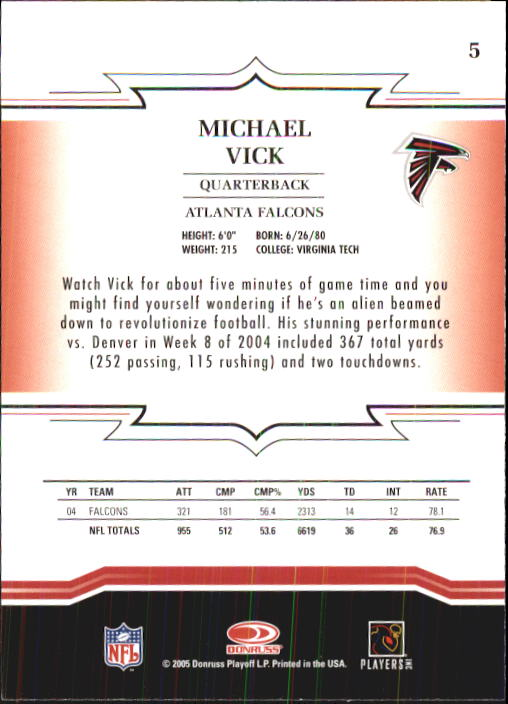 2005 Throwback Threads #5 Michael Vick back image
