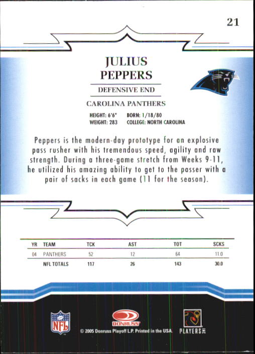 2005 Throwback Threads #21 Julius Peppers back image