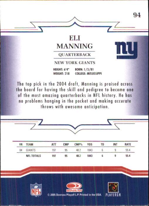 2005 Throwback Threads #94 Eli Manning back image