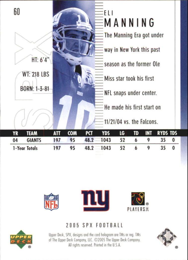2005 SPx #60 Eli Manning back image