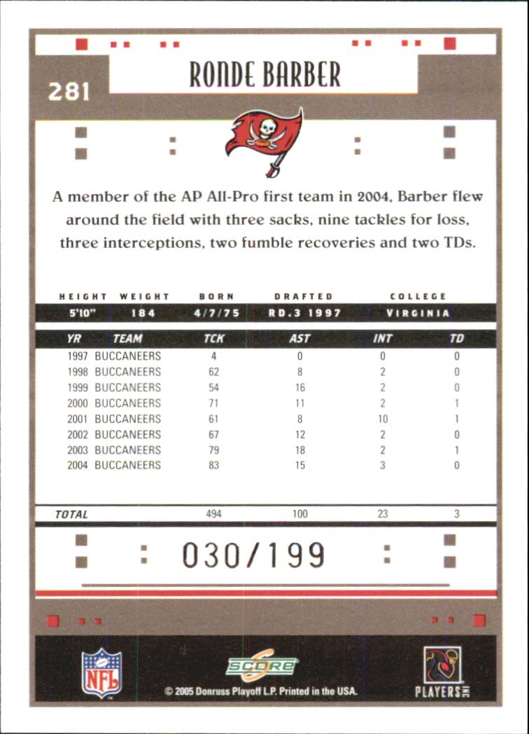 2005 Score Revolution #281 Ronde Barber back image