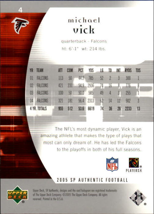 2005 SP Authentic #4 Michael Vick back image