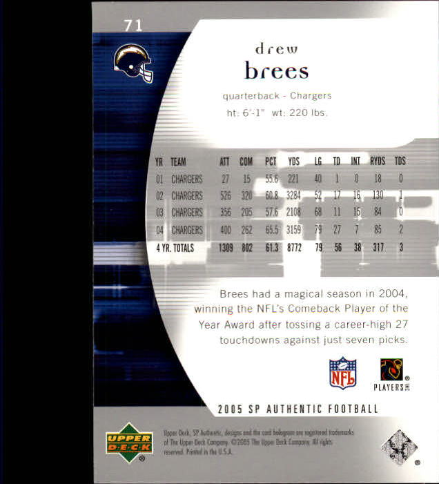 2005 SP Authentic #71 Drew Brees back image