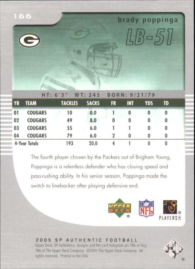 2005 SP Authentic #166 Brady Poppinga RC back image