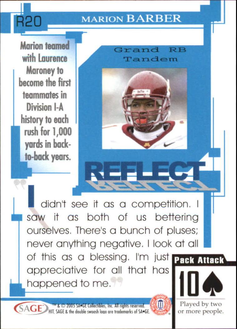 2005 SAGE HIT Reflect Blue #R20 Marion Barber back image