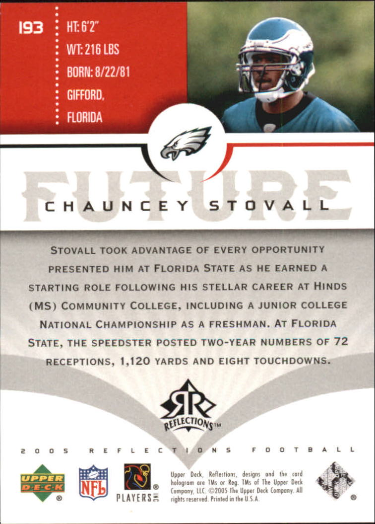 2005 Reflections #193 Chauncey Stovall RC back image