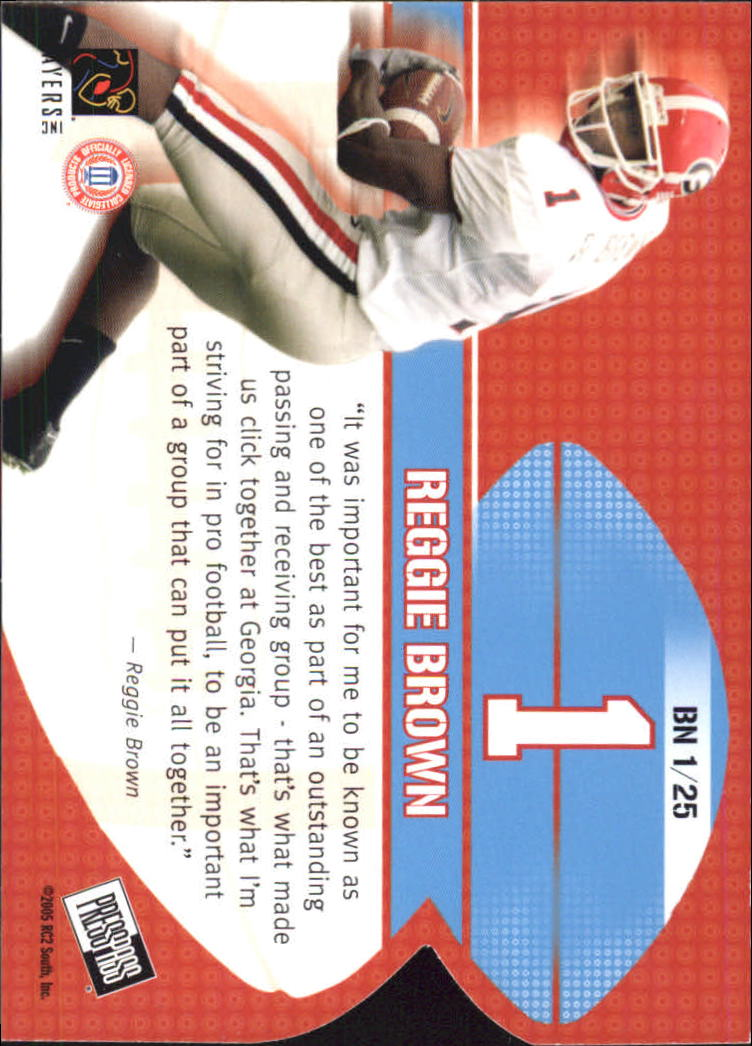 2005 Press Pass Big Numbers #BN1 Reggie Brown back image