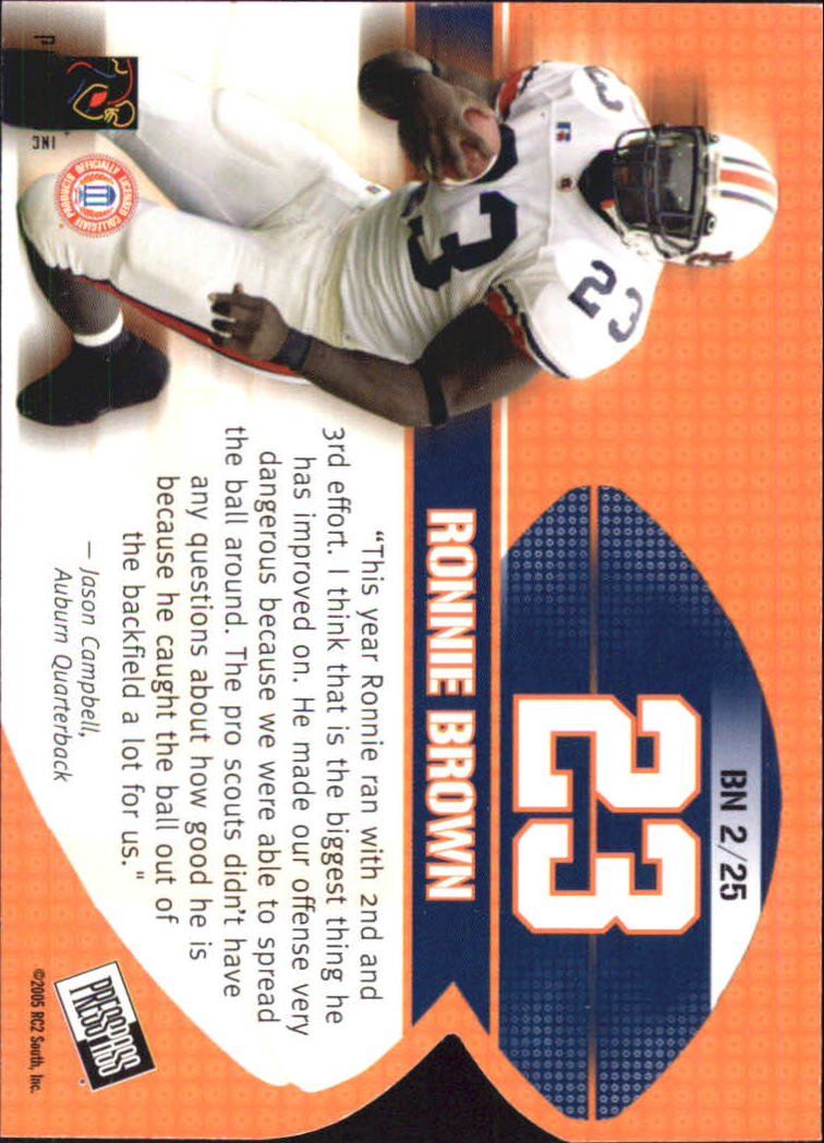 2005 Press Pass Big Numbers #BN2 Ronnie Brown back image