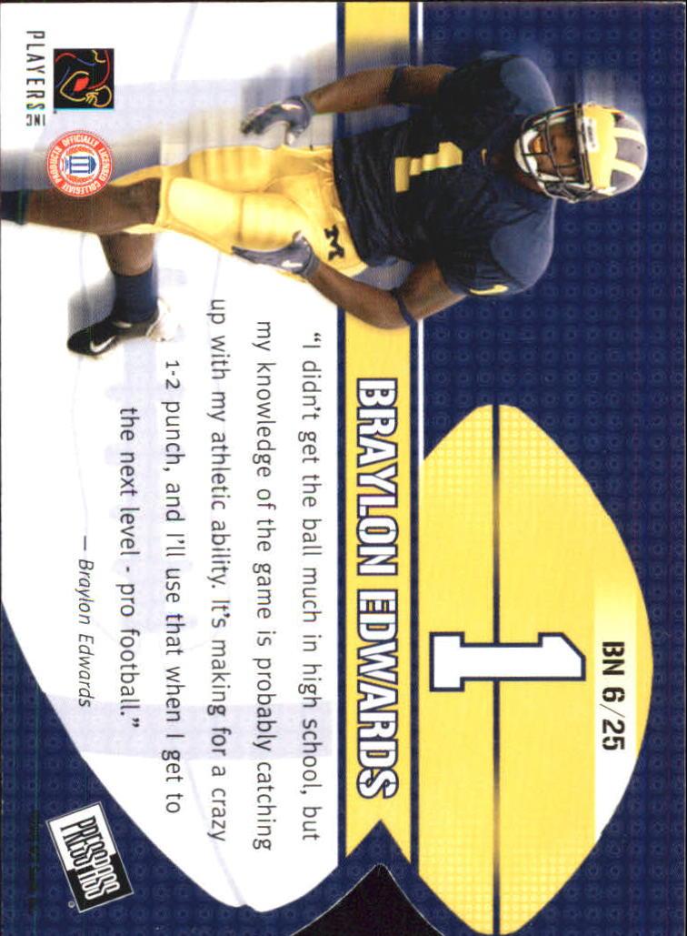 2005 Press Pass Big Numbers #BN6 Braylon Edwards back image