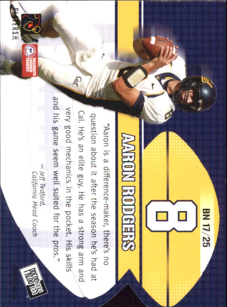 2005 Press Pass Big Numbers #BN17 Aaron Rodgers back image
