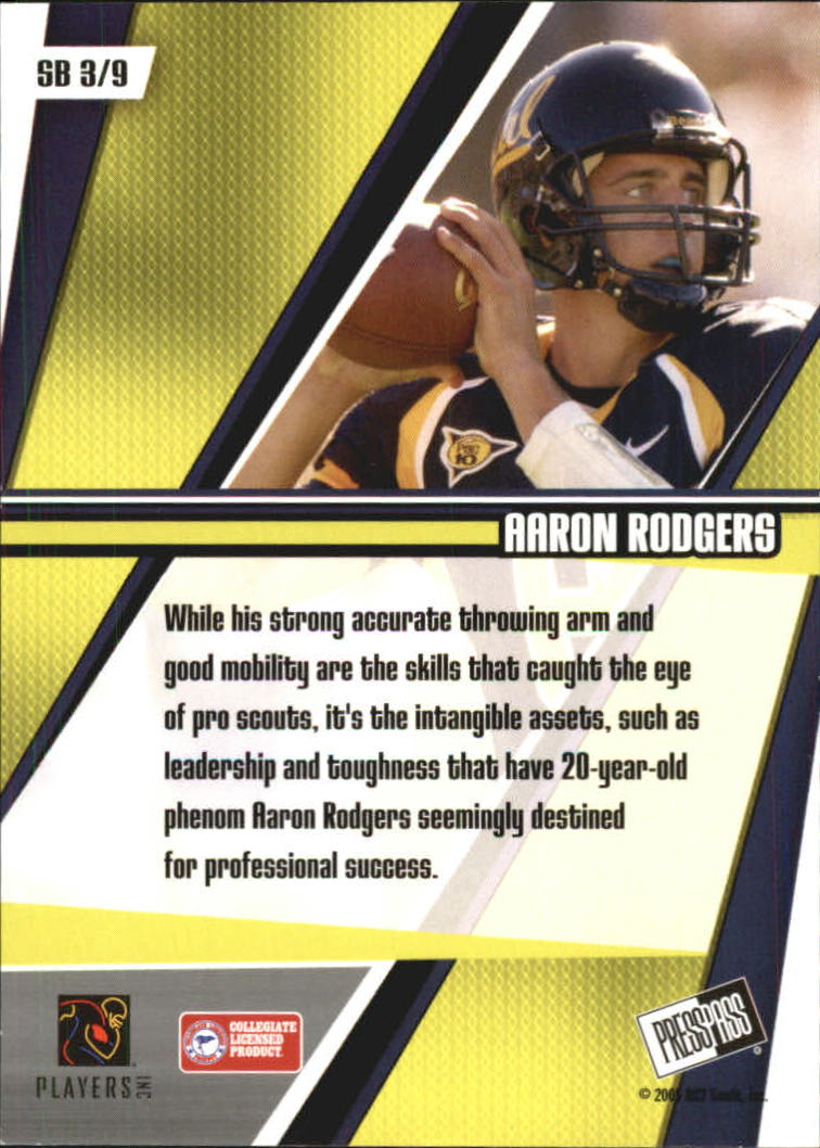 2005 Press Pass Showbound #SB3 Aaron Rodgers back image