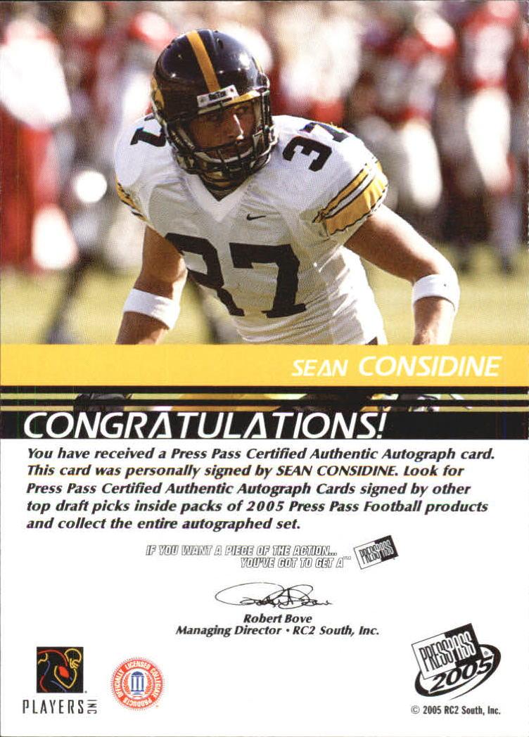 2005 Press Pass Autographs Bronze #16 Sean Considine back image