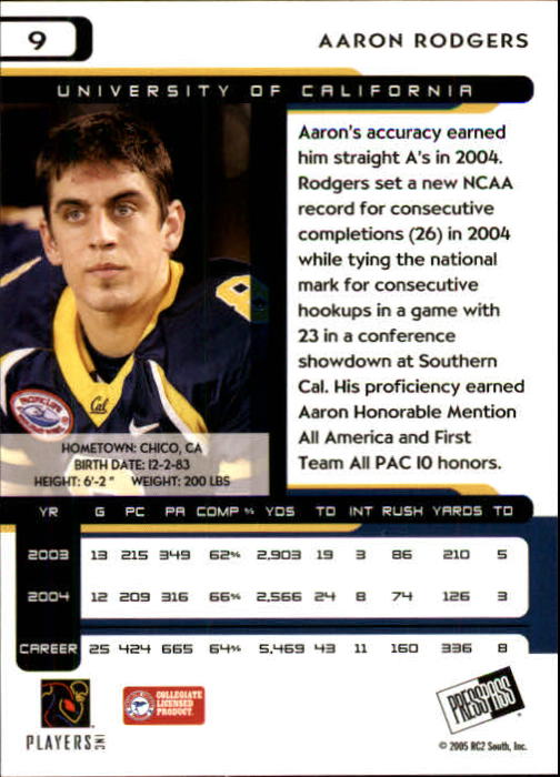2005 Press Pass #9 Aaron Rodgers back image