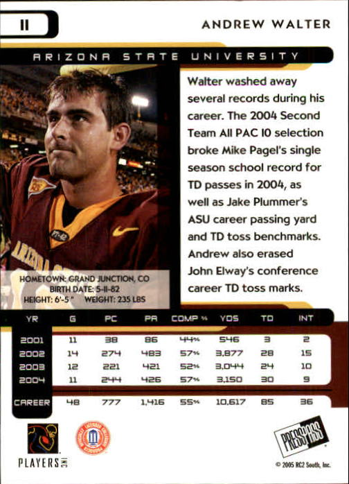 2005 Press Pass #11 Andrew Walter back image