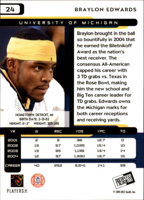 2005 Press Pass #24 Braylon Edwards back image