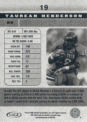 2006 SAGE HIT #19 Taurean Henderson SP back image